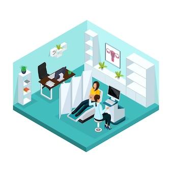 Conceito de exame médico de gravidez isométrica com mulher grávida visitando médico para ultra-som no hospital isolado