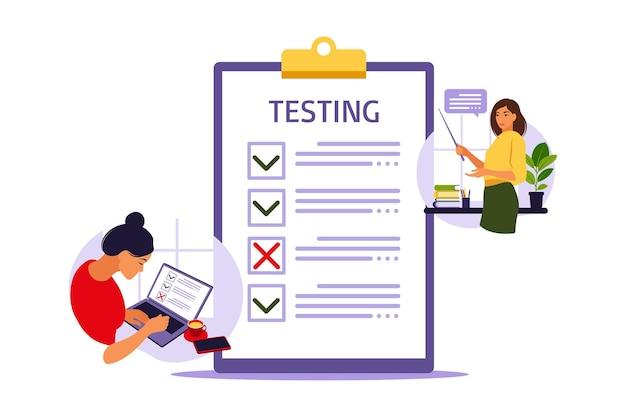 Conceito de exame online na internet. mulher sentada perto de pesquisa de formulário online no laptop. questionário, web learning, votação eletrônica. ilustração vetorial.