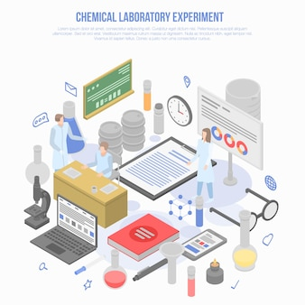 Conceito de experimento de laboratório químico de ciência, estilo isométrico