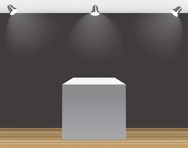 Conceito de exposição, caixa vazia branca, suporte com iluminação em fundo cinza.