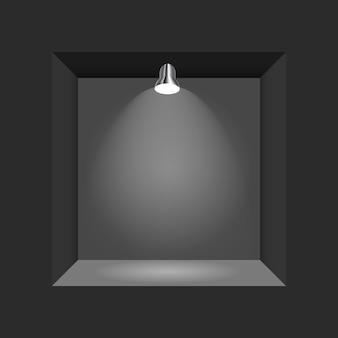 Conceito de exposição, caixa vazia preta, quadro com iluminação.