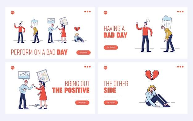 Conceito de expressar emoções negativas. página inicial do site.