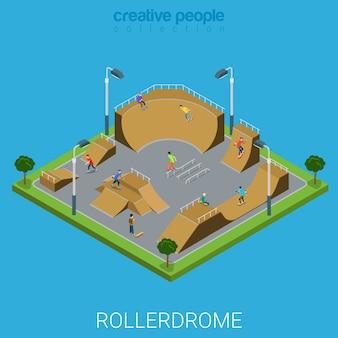 Conceito de exterior de construção de cidade plana d isométrica de arena de patins de rolo