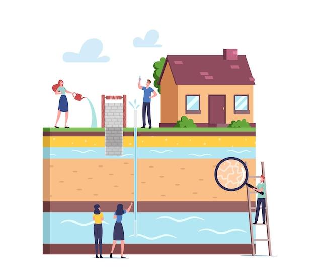 Conceito de extração de água subterrânea ou artesiana. personagens com lupa apresentando diagrama de perfuração de poço com aquífero, vista de seção transversal de camadas da terra. ilustração em vetor desenho animado