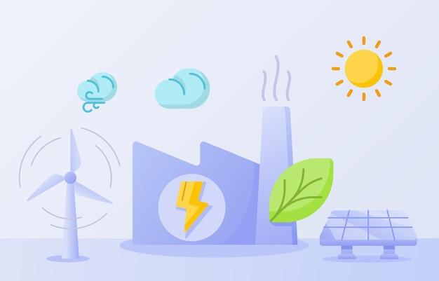 Conceito de fábrica de energia ecológica folha verde construção chaminé ganhar energia solar