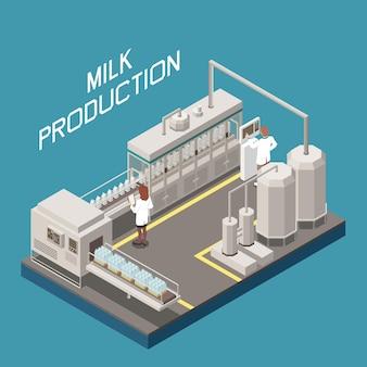 Conceito de fábrica de leite com novos símbolos de tecnologia isométricos