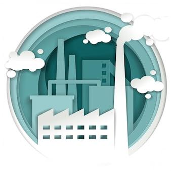 Conceito de fábrica de planta industrial em estilo de arte de papel