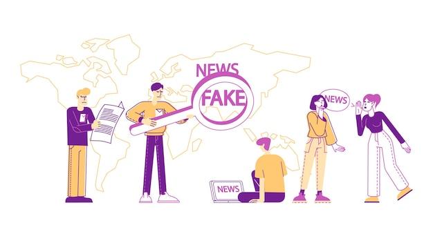 Conceito de fabricação de notícias falsas e informações falsas