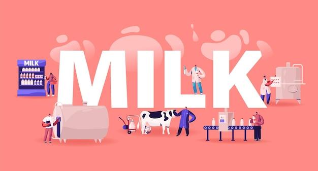 Conceito de fabricação de produção de leite. ilustração plana dos desenhos animados