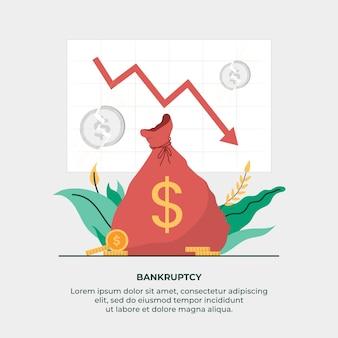 Conceito de falência com saco de dinheiro