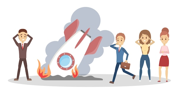 Conceito de falha de inicialização. ideia de problema de negócios e estresse. crise e falência. foguete quebrado como uma metáfora. ilustração em vetor plana isolada
