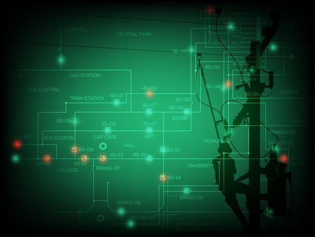 Conceito de falta de energia, diagrama de linha única do sistema de distribuição com luz do ponto verde e vermelho