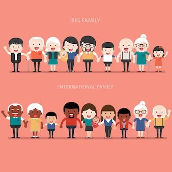 Conceito de família. família grande e feliz e família internacional. pais com filhos. pai, mãe, filhos, avô, avó, irmãos, esposa, marido, tio, tia