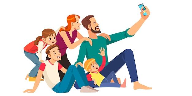 Conceito de família, felicidade, geração e pessoas Vetor Premium
