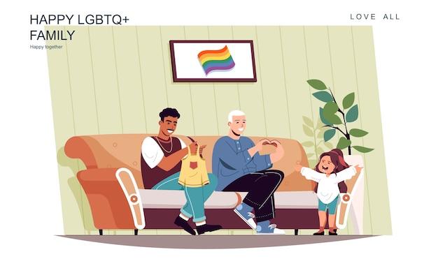 Conceito de família lgbt feliz. pais do sexo masculino cuidam da filha em casa