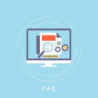 Conceito de faq, assistência ao cliente e suporte ao cliente