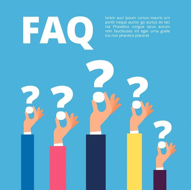 Conceito de faq. mãos de empresário segurando um modelo de pontos de interrogação