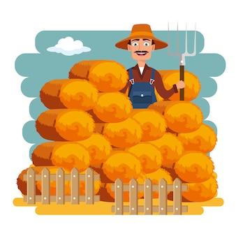 Conceito de fardos de feno agricultura e agricultura
