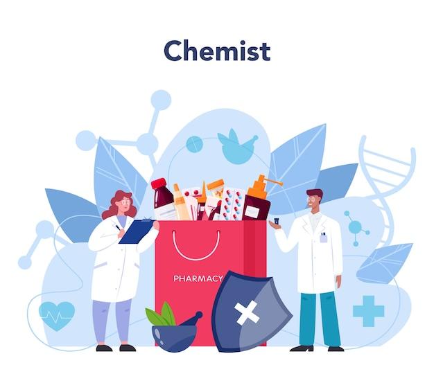 Conceito de farmacêutico em design plano