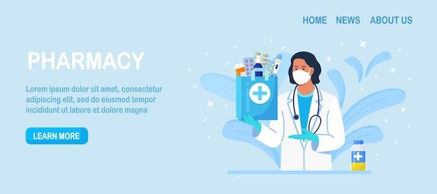 Conceito de farmácia. farmacêutico em pé e segurando a sacola de remédios com medicamento da farmácia, frasco de comprimidos e caixa para tratamento de doença. doutor em drogaria