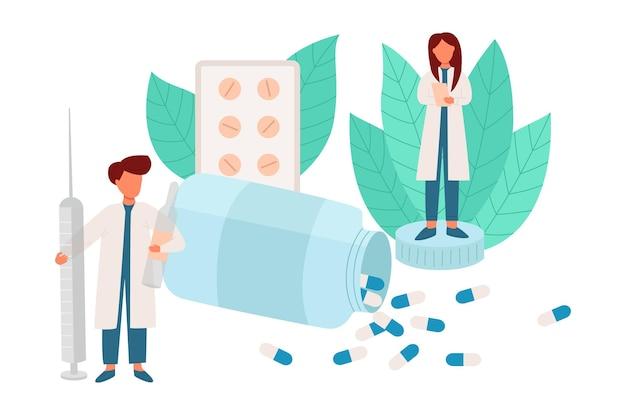 Conceito de farmácia farmacêuticos cuidam das pessoas
