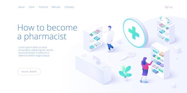 Conceito de farmácia ou drogaria online em isométrico. compra pela internet ou pedido com laptop. fundo com medicamentos e equipamentos. modelo de layout de banner da web.
