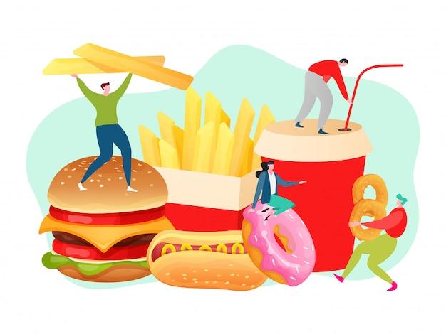 Conceito de fast-food, pessoas pequenas com hambúrguer, batatas fritas, cachorro-quente e coca-cola, ilustração