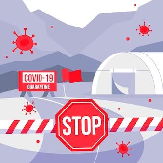 Conceito de fechamento de fronteira com coronavírus de quarentena