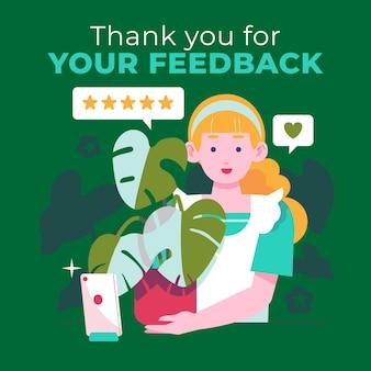Conceito de feedback de design plano