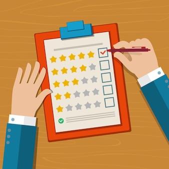 Conceito de feedback do cliente. mão verificando excelente marca em uma pesquisa. ilustração de design plano