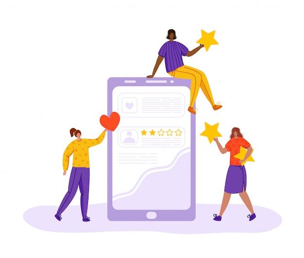 Conceito de feedback do cliente, mulheres felizes com clientes revisão e feedback, mantenha estrelas, gostos, coração