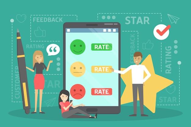 Conceito de feedback. ideia de revisão do cliente. opinião positiva