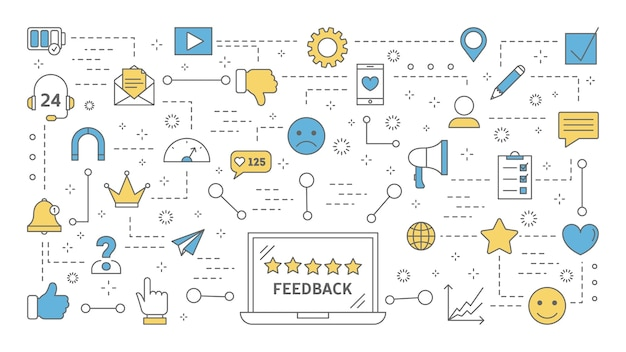 Conceito de feedback. idéia de uma avaliação e avaliação do cliente. deixe um comentário e se inscreva. avaliação do produto. conjunto de ícones de linha colorida. ilustração
