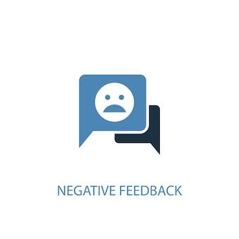 Conceito de feedback negativo 2 ícone colorido. ilustração do elemento azul simples. design de símbolo de conceito de feedback negativo. pode ser usado para ui / ux da web e móvel