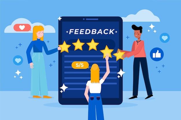 Conceito de feedback plano com estrelas