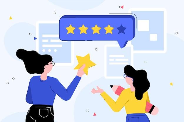 Conceito de feedback plano dando ilustrado