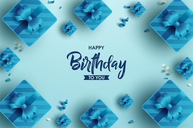 Conceito de feliz aniversário com moldura de fita para caixa de presente