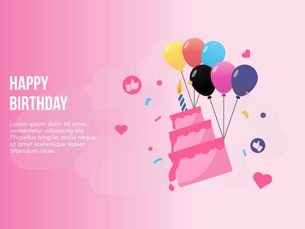 Conceito de feliz aniversário no vetor de fundo rosa