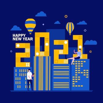 Conceito de feliz ano novo com personagem. as pessoas ficam perto da cidade com janelas iluminadas, balão de ar e céu.