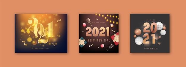 Conceito de feliz ano novo de 2021 com elementos de festa 3d em três opções