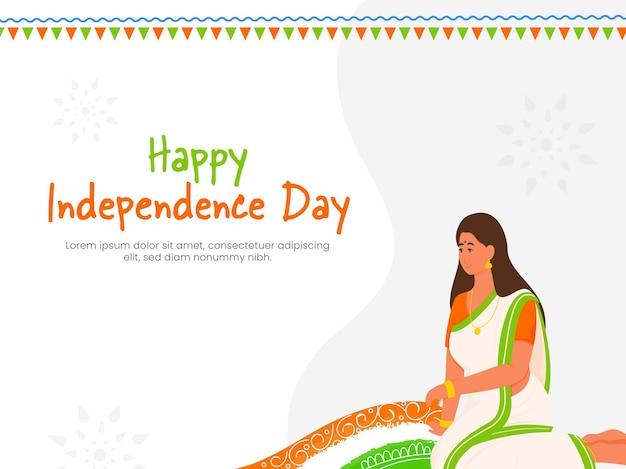 Conceito de feliz dia da independência com mulher indiana fazendo rangoli em fundo branco.