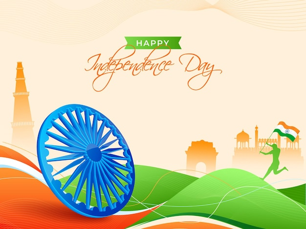 Conceito de feliz dia da independência com o famoso monumento, silhueta humana segurando a bandeira da índia e roda de ashoka 3d no fundo abstrato onda tricolor.