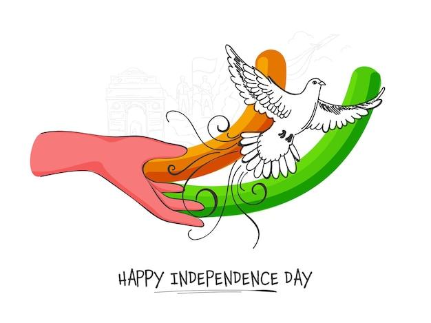 Conceito de feliz dia da independência com pomba voadora e mão no fundo branco.