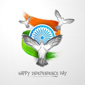 Conceito de feliz dia da independência com pombas de arte rabisco, roda de ashoka, açafrão e efeito de pincel verde sobre fundo branco.