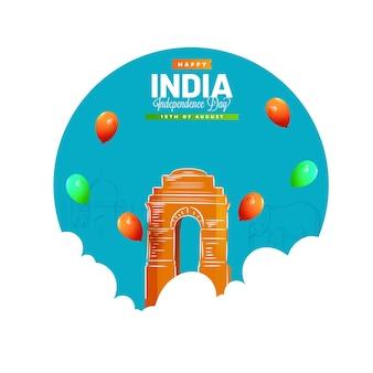Conceito de feliz dia da independência da índia com o portão da índia, balões