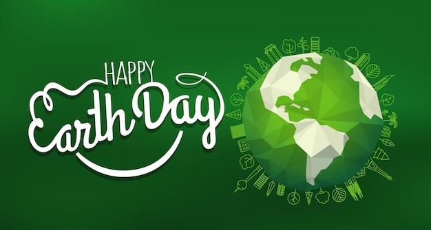 Conceito de feliz dia da terra. logotipo do vetor com o sorriso no fundo desfocado
