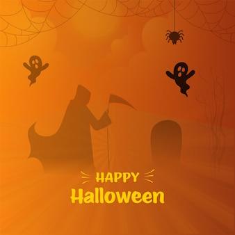 Conceito de feliz dia das bruxas com silhueta ceifador, fantasmas de desenhos animados, lápide e aranha pendurar em fundo de raios laranja.