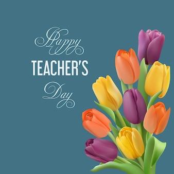 Conceito de feliz dia do professor com buquê de tulipas coloridas