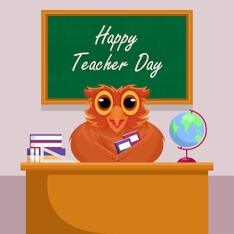 Conceito de feliz dia do professor com personagem de coruja