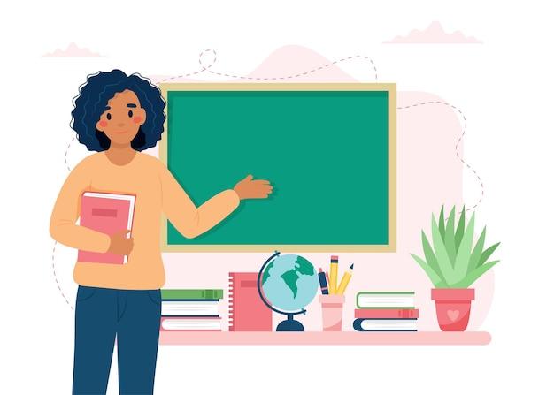 Conceito de feliz dia do professor professora negra em sala de aula escola e aprendizagem